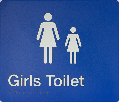 Girls Toilet Sign white on blue