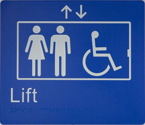 Lift Sign Accessible black on silver