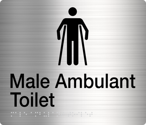 Male Ambulant Toilet Sign black on silver 2 icons