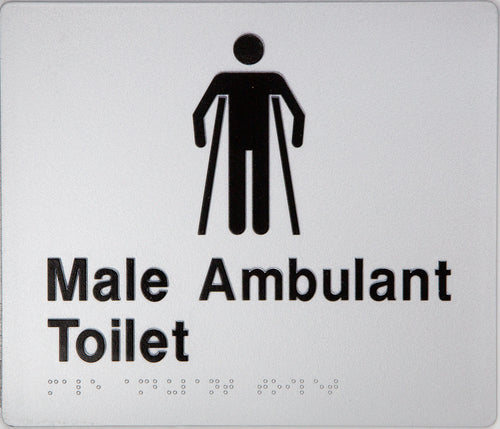Male Ambulant Toilet Sign black on silver 1 icon