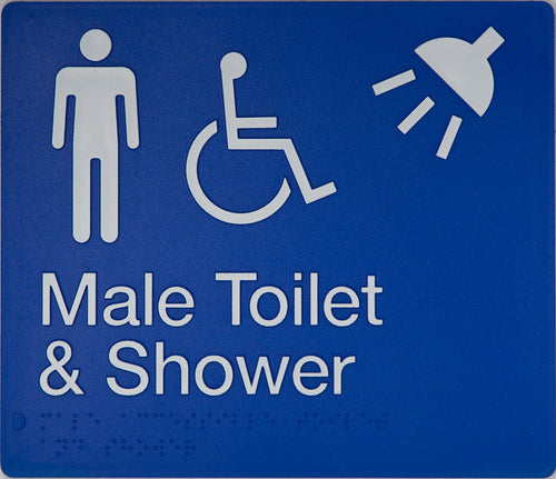 Male Toilet & Shower Sign blue Accessible 3 icons