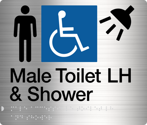 Male Shower Sign silver Accessible 3 icons