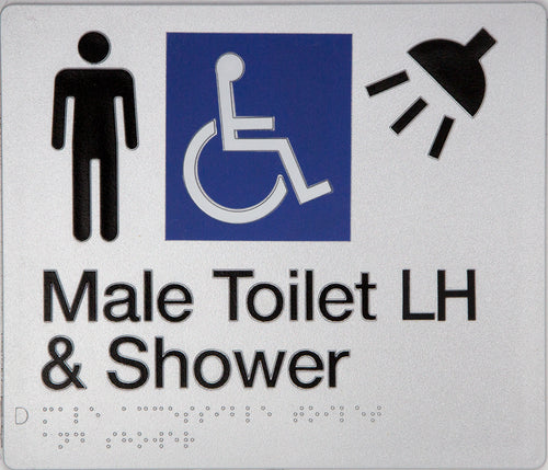 Male Toilet LH & Shower Sign silver Accessible 3 icons