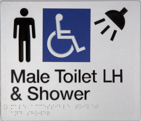 Male Ambulant Toilet Sign white on blue 1 icon