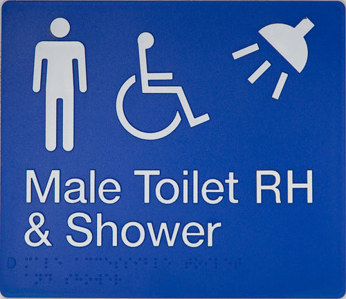Male Toilet RH & Shower Sign blue Accessible 3 icons