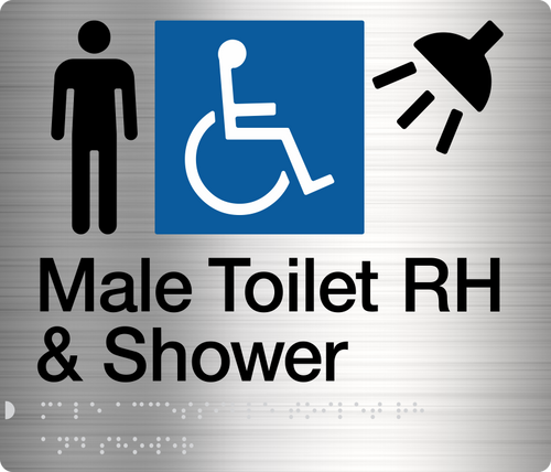 Male Disabled Toilet & Shower (Right Handed) Stainless Steel