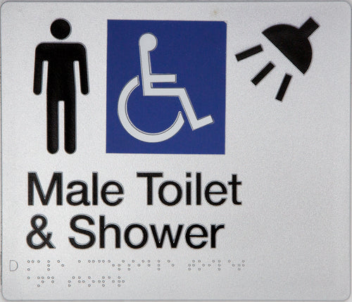 Male Toilet & Shower Sign silver Accessible 3 icons