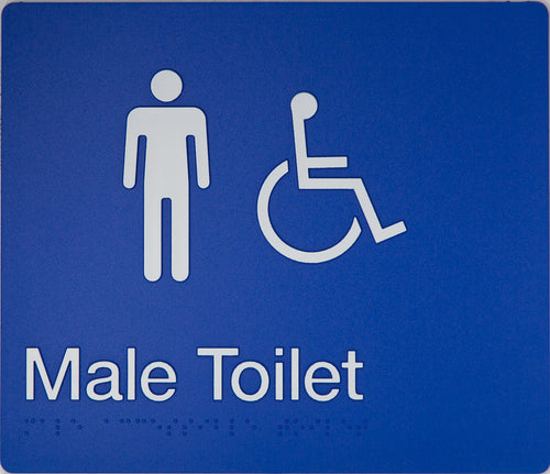 Male Toilet sign Accessible white on blue 2 icons