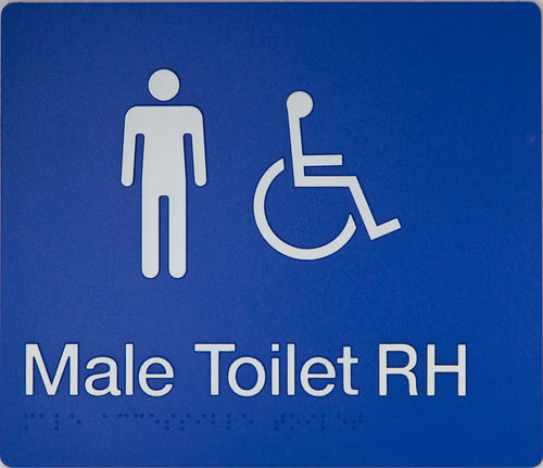 Male Toilet RH sign white on blue 2 icons