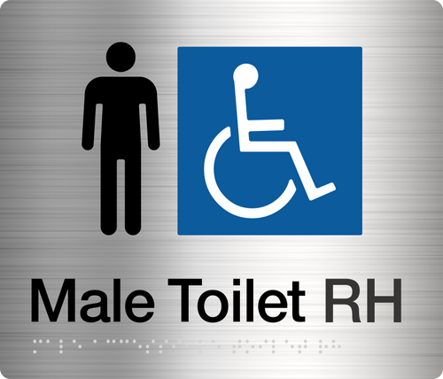 Male Disabled Toilet (Right handed) Stainless Steel