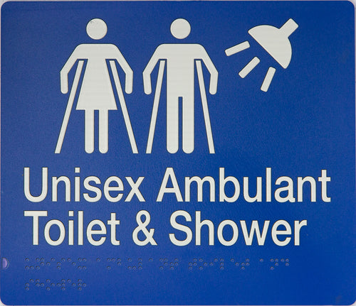 UNISEX AMBULANT TOILET & SHOWER SIGN WHITE ON BLUE