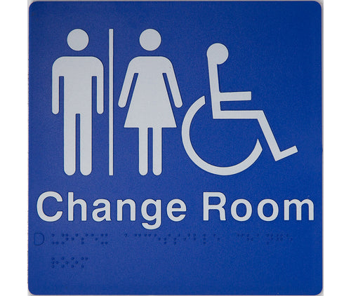 Change Room Sign blue male female & wheelchair icons