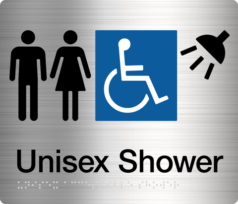 Unisex Shower Sign blue 3 icons