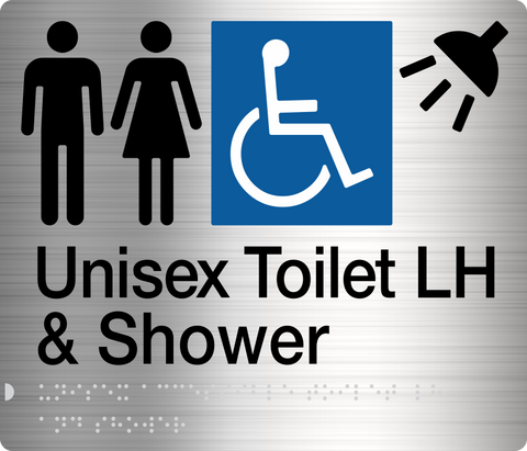 Unisex Toilet Sign Accessible black on silver 3 icons