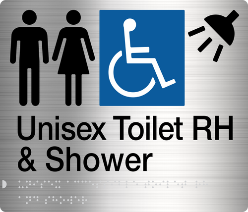Male Female Disabled Toilet & Shower (Right handed)  Stainless Steel