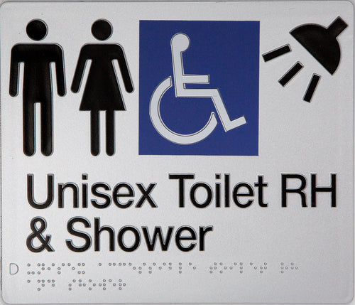 Unisex Toilet RH & Shower Sign Accessible silver 4 icons