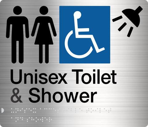 Male Toilet & Shower Sign blue 2 icons