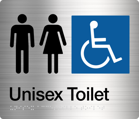 Female Ambulant Toilet Sign white on blue 1 icon