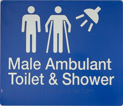 MALE/ MALE AMBULANT TOILET & SHOWER SIGN WHITE ON BLUE