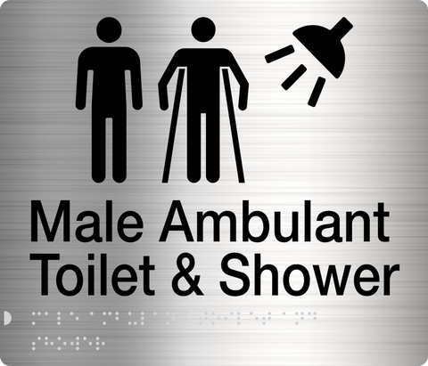 MALE/ MALE AMBULANT TOILET & SHOWER SIGN BLACK ON SILVER