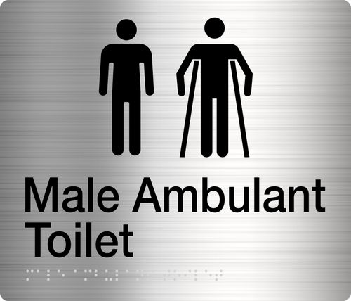 Male / Male Ambulant Toilet  Stainless Steel