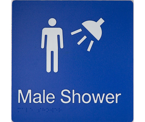 Male Ambulant Toilet Sign white on blue 2 icons