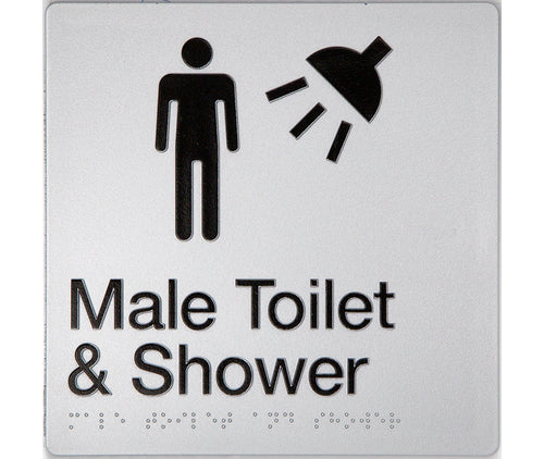Male Toilet & Shower Sign silver 2 icons