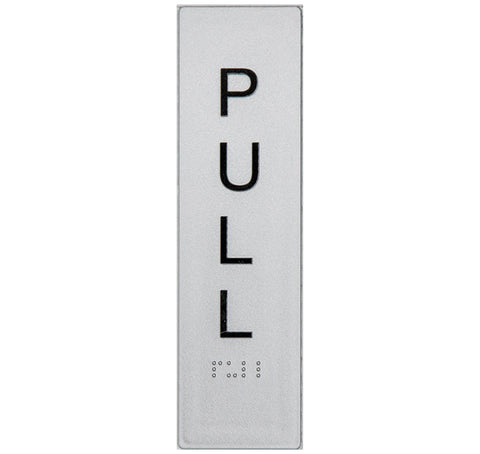 Braille Push Sign vertical black on silver