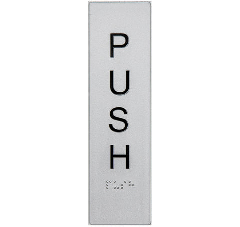 Braille Pull Sign vertical black on silver