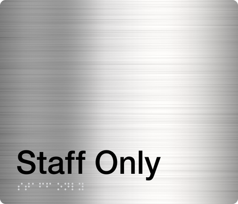 Staff Only Sign white on blue