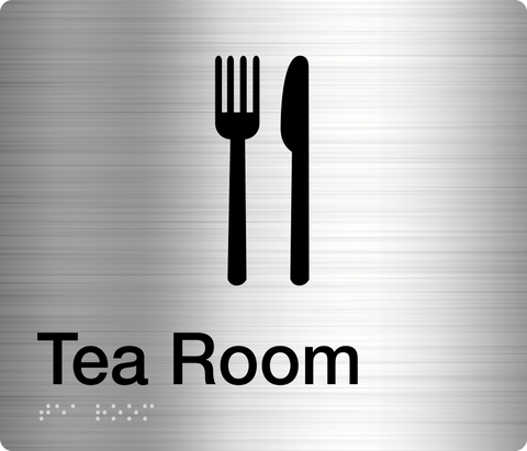 Tea Room Sign black on silver