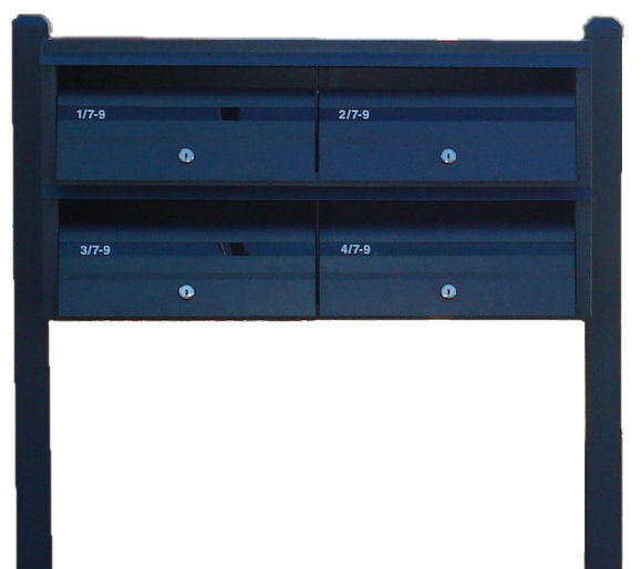 Multibank Letterbox:   Front-opening + Post-mounted