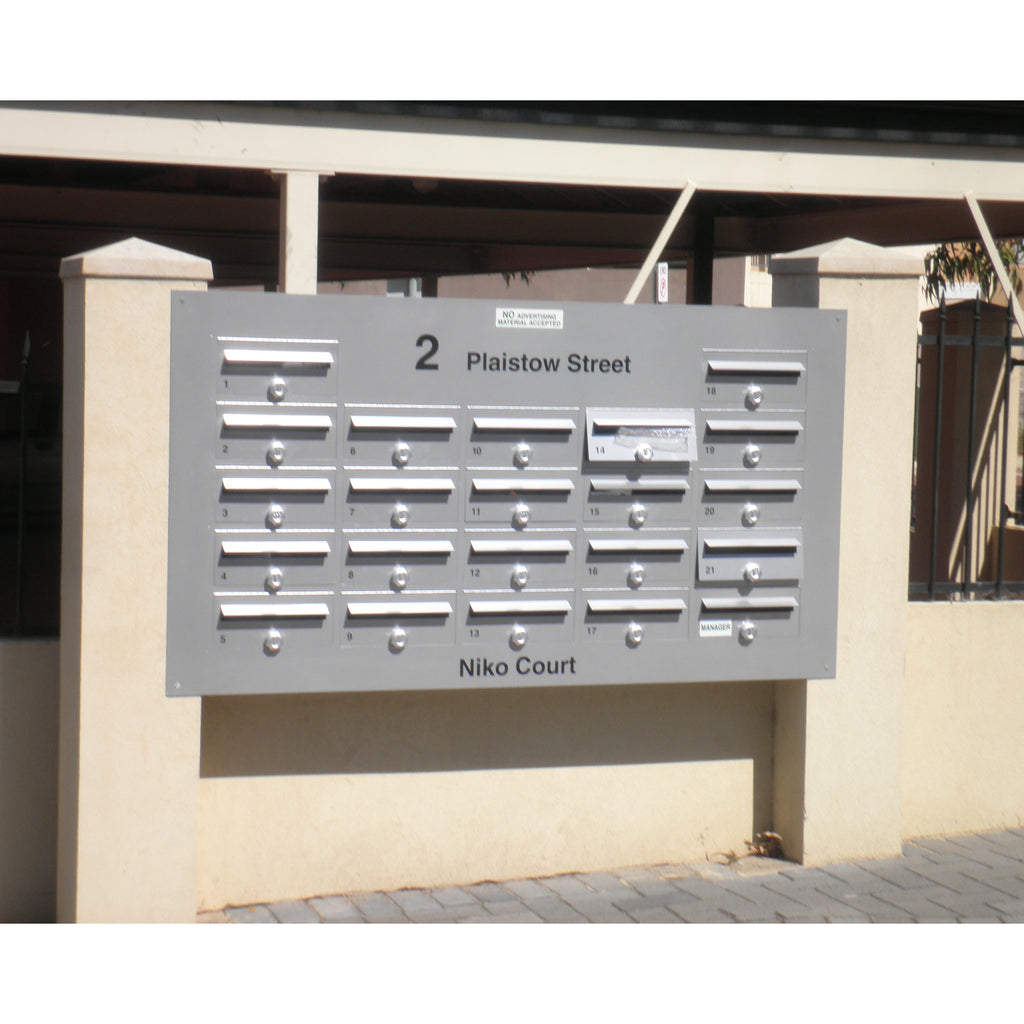 Customised Multibank Letterbox:   Inset + Front-opening
