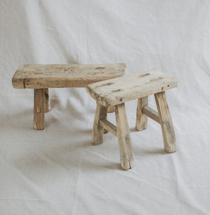 Mini Elm Wood Stool