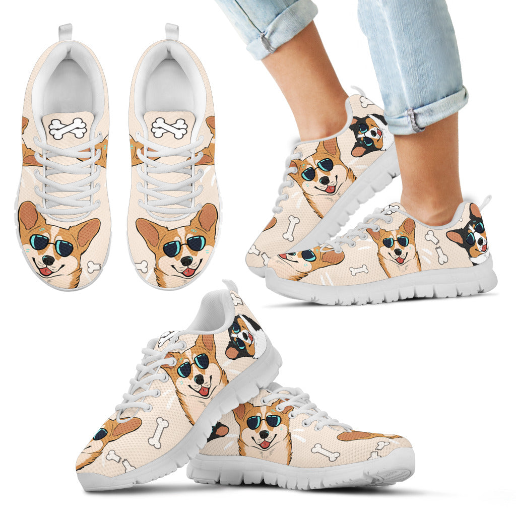 Corgi W/ Sunglasses Kid's Sneakers