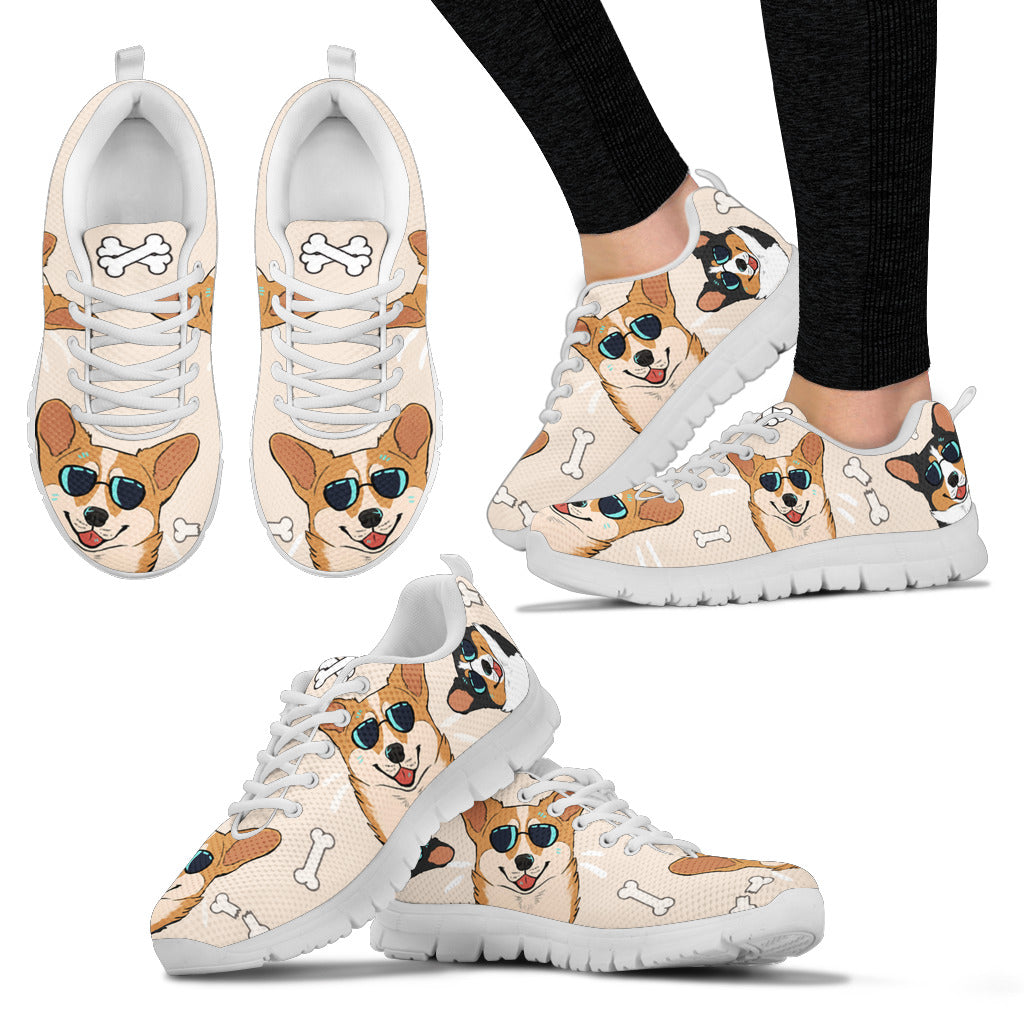 Corgi W/ Sunglasses Women's Sneakers