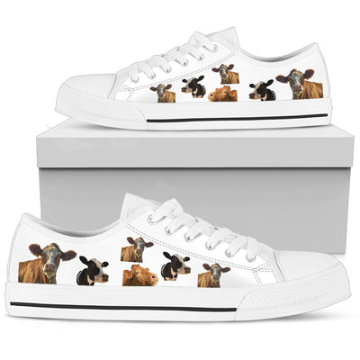 Cow Canvas Shoes - White