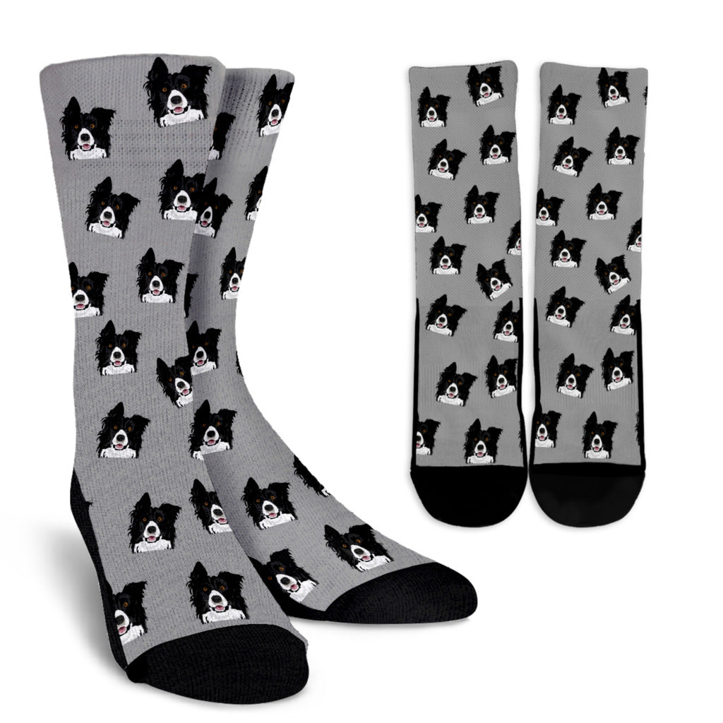 Border Collie Socks - Grey or Pink