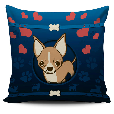 Chihuahua Blue Pillow Case