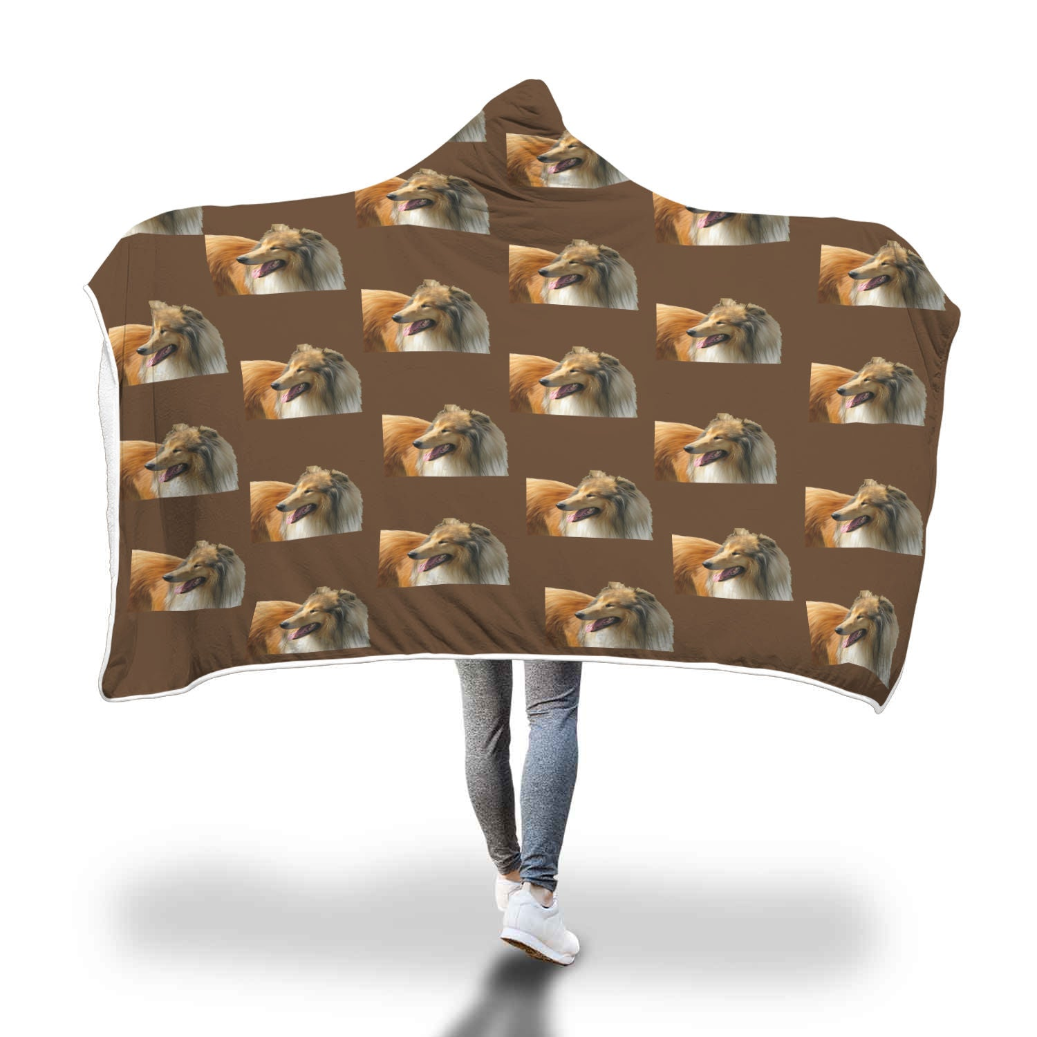Collie Hooded Blanket - Rough