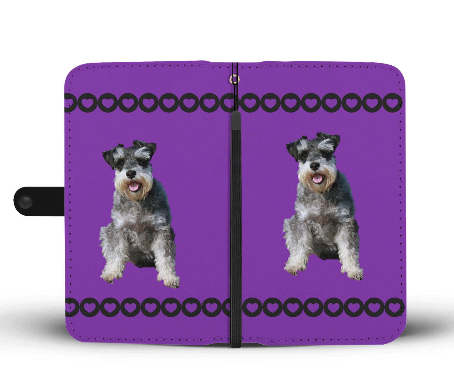 Schnauzer Phone Case Wallet - Purple