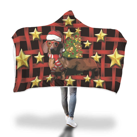 Dachshund Christmas Hooded Blanket