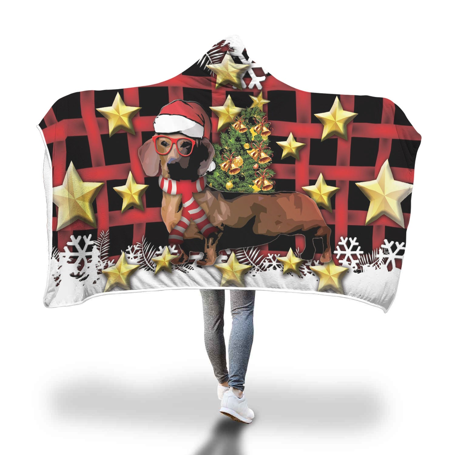 Dachshund Christmas Hooded Blanket 2