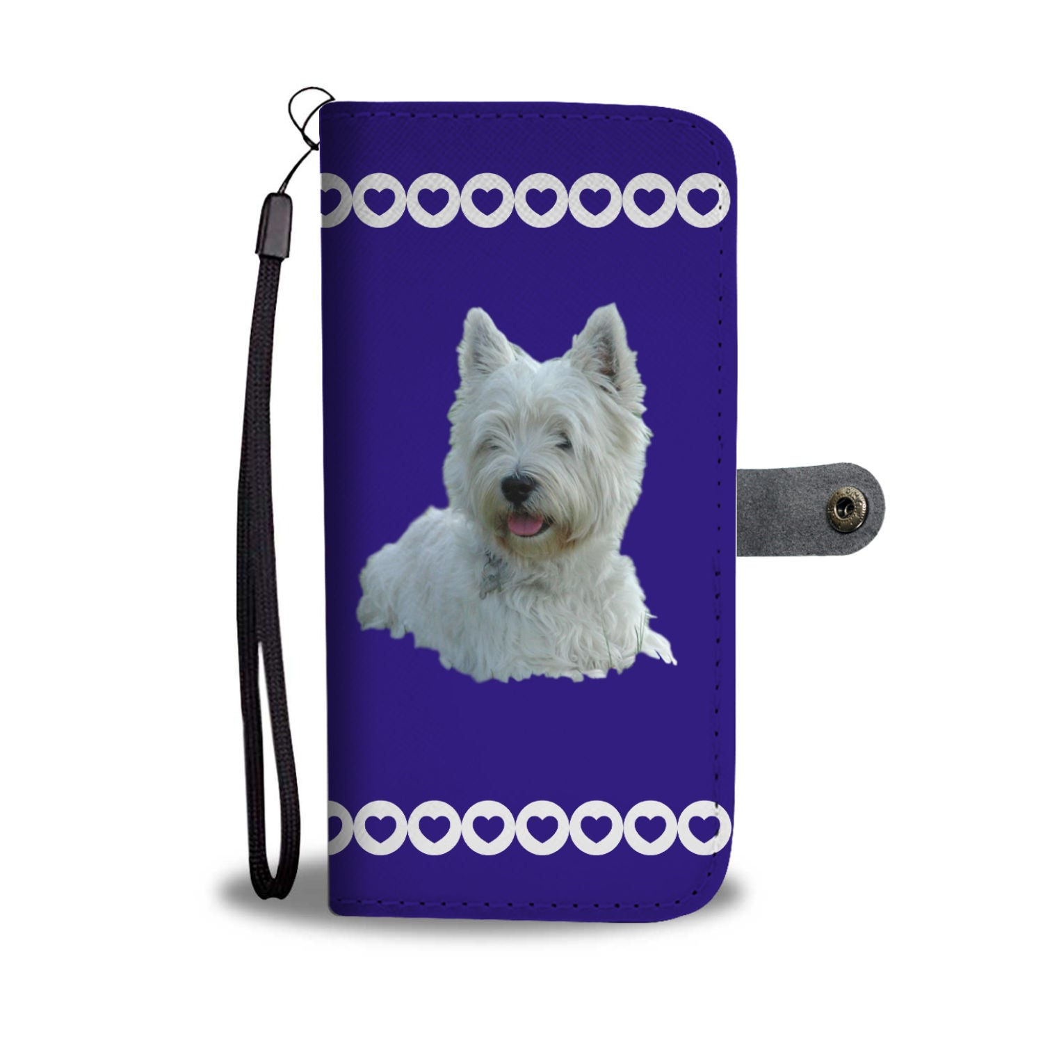 Westie Phone Case Wallet - Blue