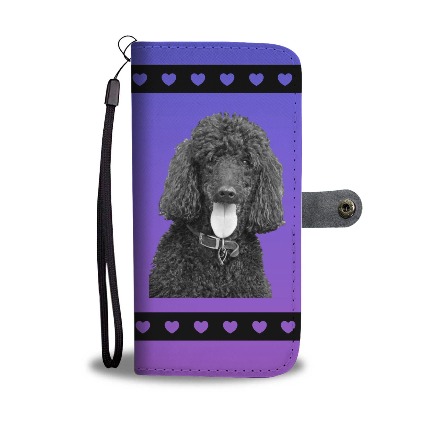 Poodle Standard Black Phone Case Wallet