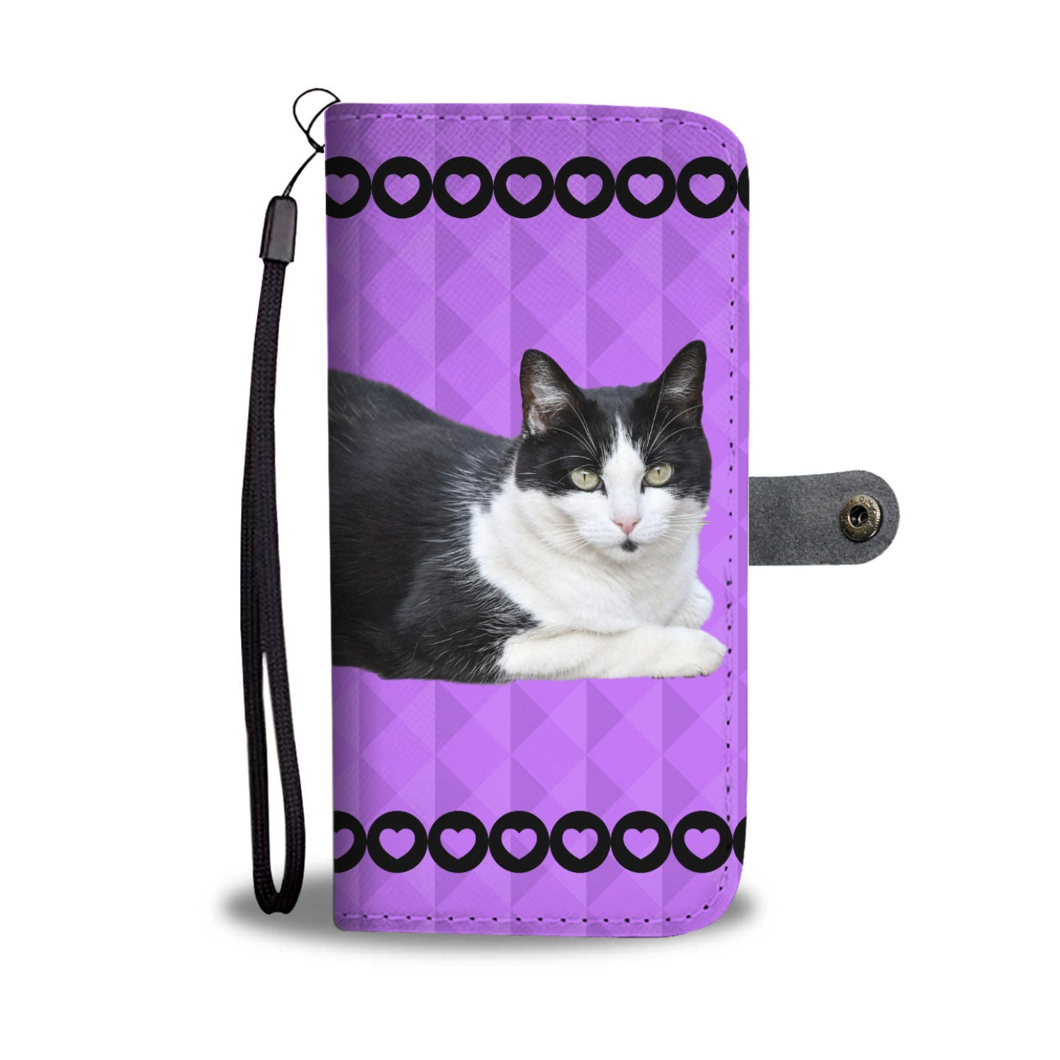 Black & White Cat Phone Case Wallet