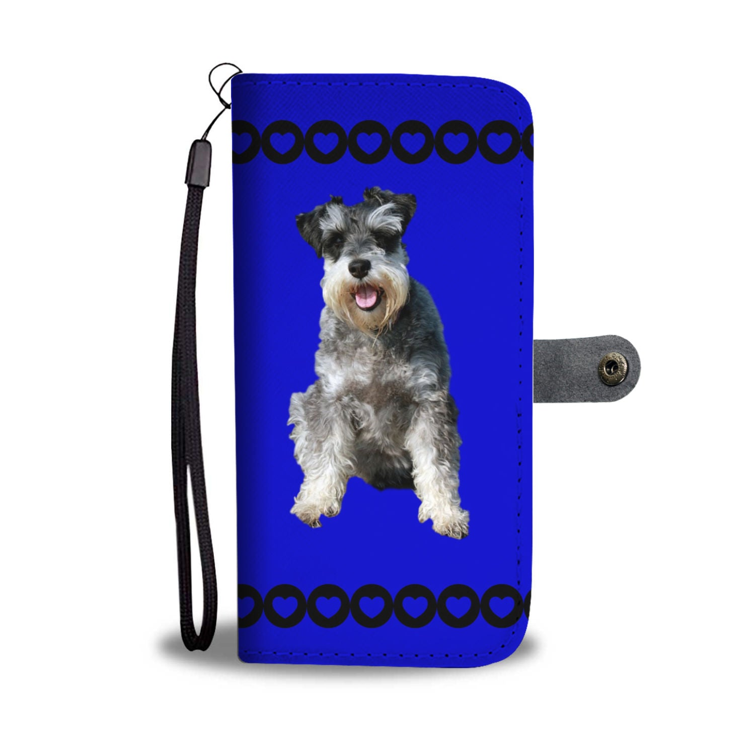 Schnauzer Phone Case Wallet - Blue
