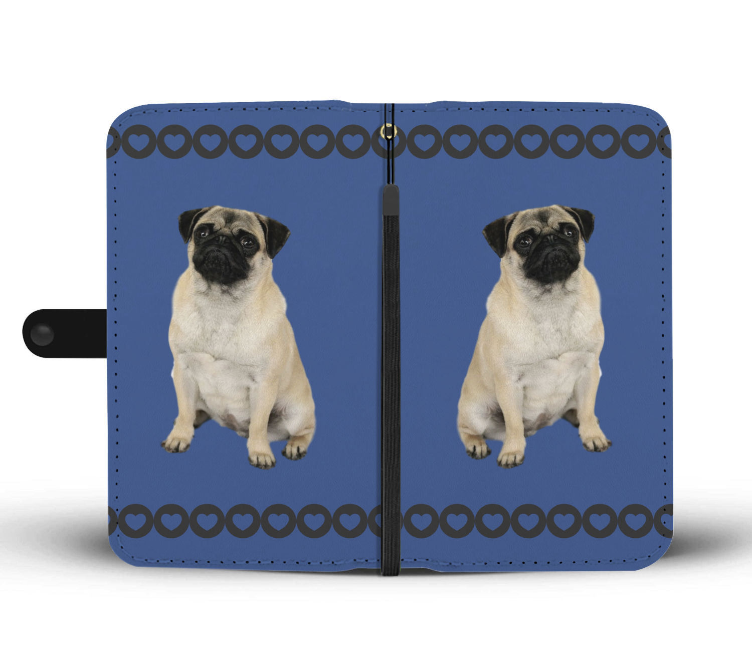 Pug Phone Case Wallet - Blue