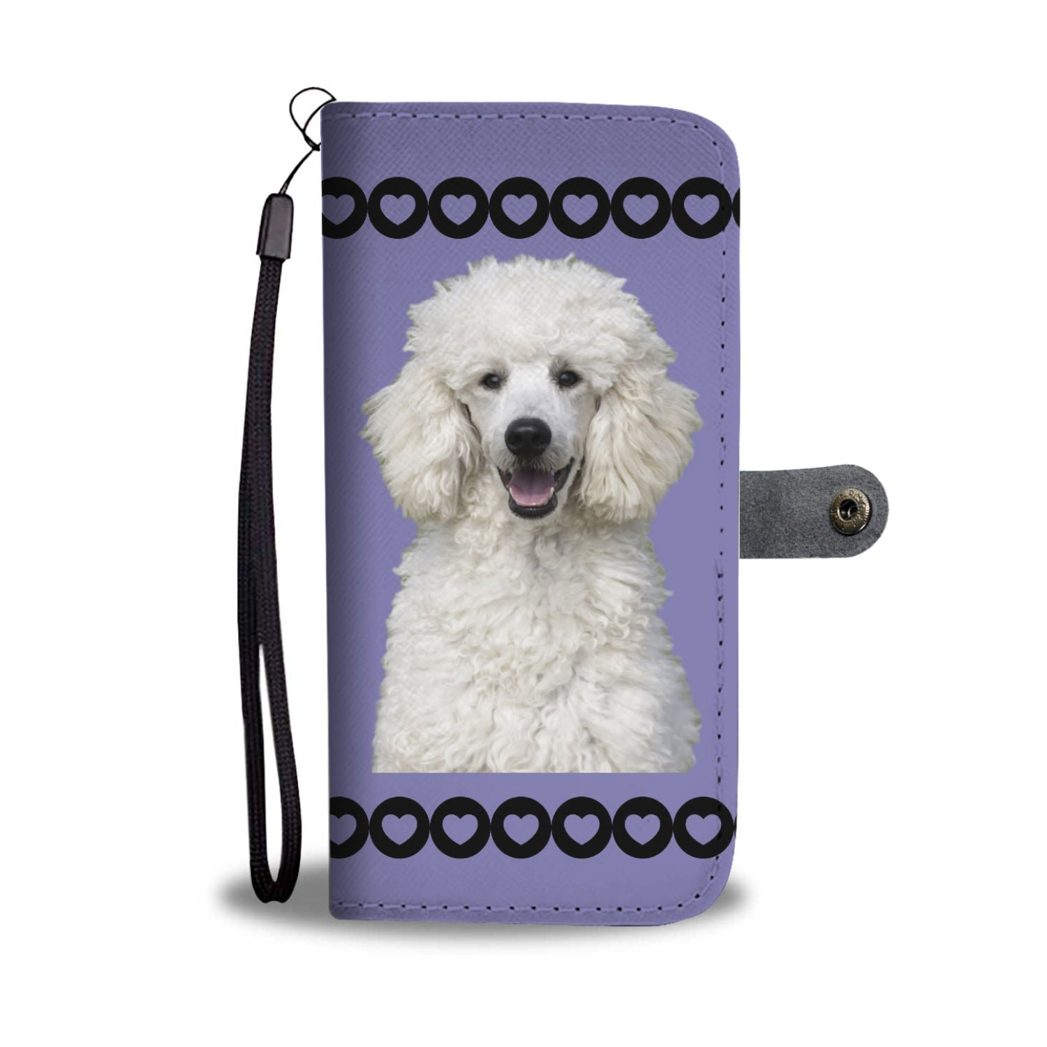 Poodle Phone Case Wallet - Standard White