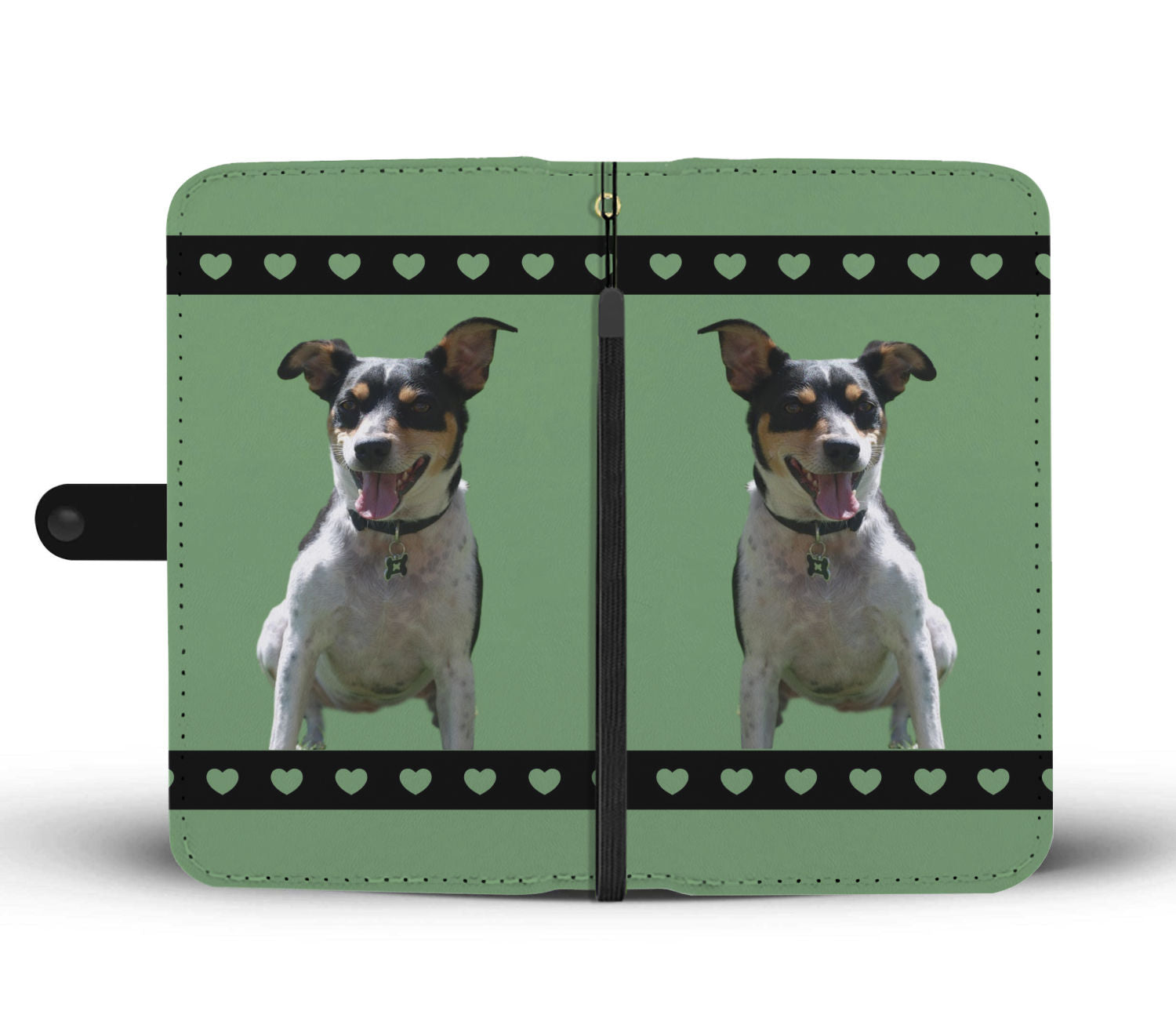 Rat Terrier Phone Case Wallet - Green